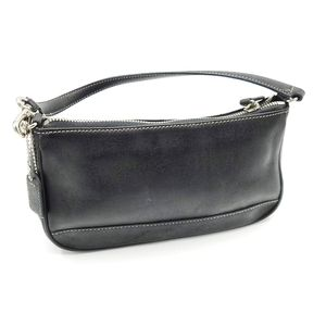Coach Black Leather Demi Baguette Handbag Wristlet